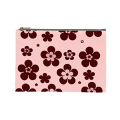 Pink With Brown Flowers Cosmetic Bag (large)