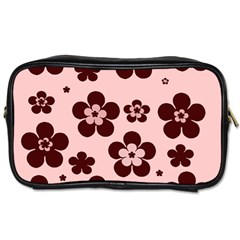 Pink With Brown Flowers Travel Toiletry Bag (Two Sides)