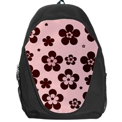 Pink With Brown Flowers Backpack Bag
