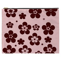 Pink With Brown Flowers Cosmetic Bag (XXXL)