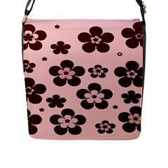 Pink With Brown Flowers Flap Closure Messenger Bag (large)