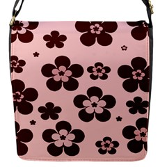 Pink With Brown Flowers Flap Closure Messenger Bag (Small)
