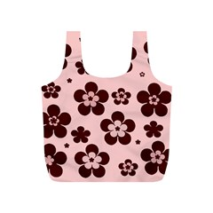 Pink With Brown Flowers Reusable Bag (s)