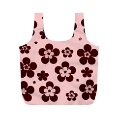 Pink With Brown Flowers Reusable Bag (M)