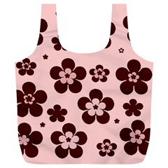 Pink With Brown Flowers Reusable Bag (XL)