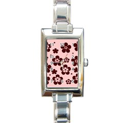 Pink With Brown Flowers Rectangular Italian Charm Watch