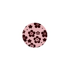 Pink With Brown Flowers 1  Mini Button Magnet