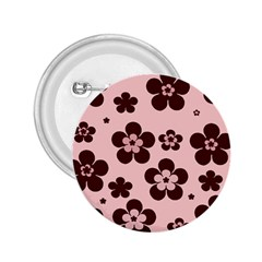Pink With Brown Flowers 2.25  Button
