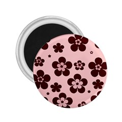 Pink With Brown Flowers 2.25  Button Magnet