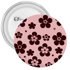 Pink With Brown Flowers 3  Button