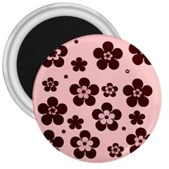 Pink With Brown Flowers 3  Button Magnet