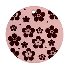 Pink With Brown Flowers Round Ornament