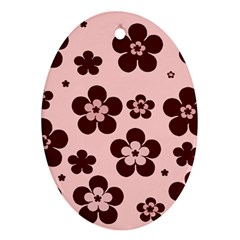 Pink With Brown Flowers Oval Ornament