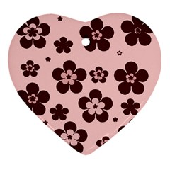 Pink With Brown Flowers Heart Ornament