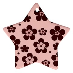 Pink With Brown Flowers Star Ornament