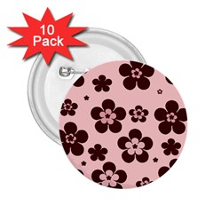 Pink With Brown Flowers 2 25  Button (10 Pack)