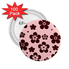 Pink With Brown Flowers 2 25  Button (100 Pack)