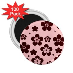Pink With Brown Flowers 2.25  Button Magnet (100 pack)