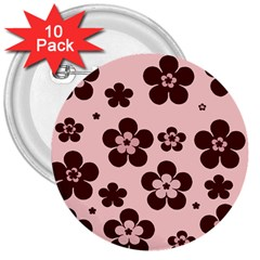 Pink With Brown Flowers 3  Button (10 pack)