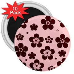 Pink With Brown Flowers 3  Button Magnet (10 pack)