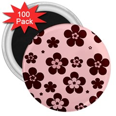 Pink With Brown Flowers 3  Button Magnet (100 pack)