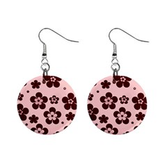 Pink With Brown Flowers Mini Button Earrings