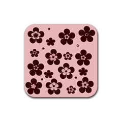 Pink With Brown Flowers Drink Coaster (Square)
