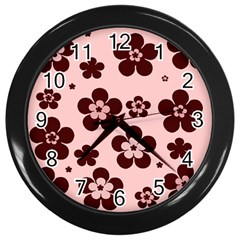 Pink With Brown Flowers Wall Clock (Black)