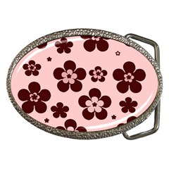 Pink With Brown Flowers Belt Buckle (oval)