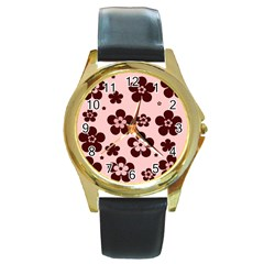 Pink With Brown Flowers Round Leather Watch (Gold Rim)