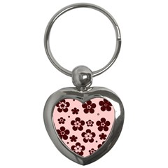 Pink With Brown Flowers Key Chain (Heart)