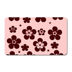 Pink With Brown Flowers Magnet (rectangular)