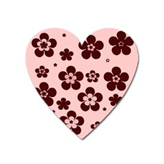Pink With Brown Flowers Magnet (heart)