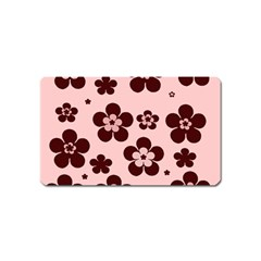 Pink With Brown Flowers Magnet (name Card)