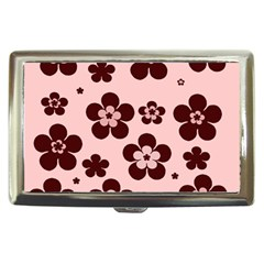 Pink With Brown Flowers Cigarette Money Case