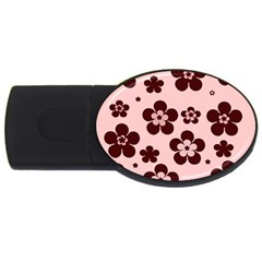 Pink With Brown Flowers 1GB USB Flash Drive (Oval)