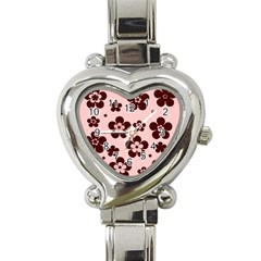 Pink With Brown Flowers Heart Italian Charm Watch