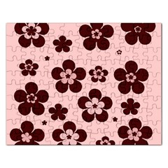 Pink With Brown Flowers Jigsaw Puzzle (rectangle)