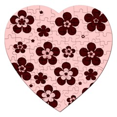 Pink With Brown Flowers Jigsaw Puzzle (heart)
