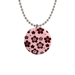 Pink With Brown Flowers Button Necklace