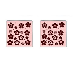 Pink With Brown Flowers Cufflinks (Square)