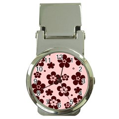 Pink With Brown Flowers Money Clip with Watch
