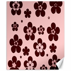 Pink With Brown Flowers Canvas 8  x 10  (Unframed)