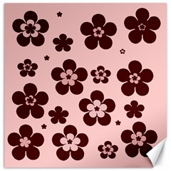 Pink With Brown Flowers Canvas 16  x 16  (Unframed)
