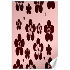 Pink With Brown Flowers Canvas 20  x 30  (Unframed)