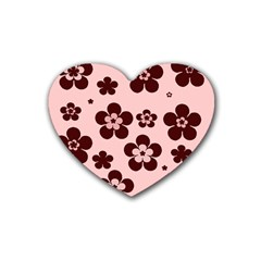 Pink With Brown Flowers Drink Coasters 4 Pack (Heart)