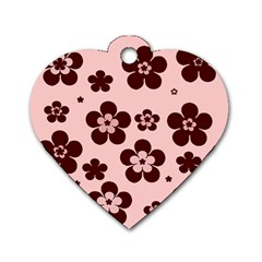 Pink With Brown Flowers Dog Tag Heart (two Sided)