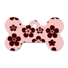 Pink With Brown Flowers Dog Tag Bone (Two Sided)