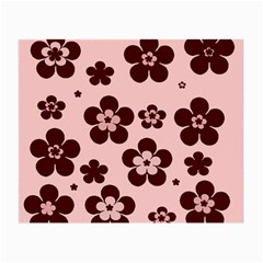 Pink With Brown Flowers Glasses Cloth (Small, Two Sided)