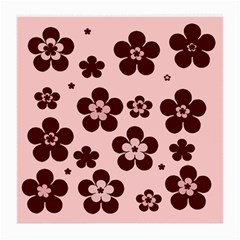 Pink With Brown Flowers Glasses Cloth (medium, Two Sided)